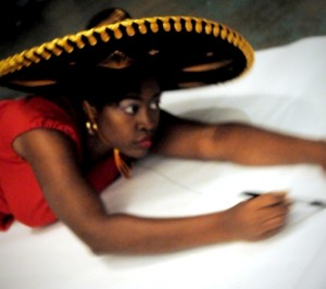 Gabrielle Civil in a sombrero